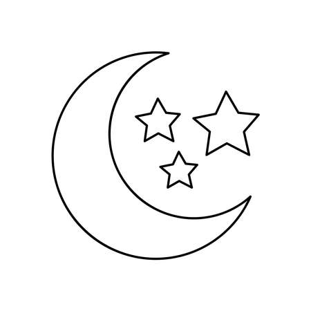 half moon and stars icon over white background, line style, vector illustration Çizim