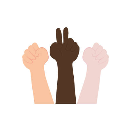icon of hands with protesting gestures over white background, flat style, vector illustration