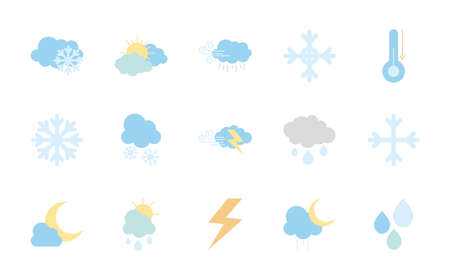 sun and weather icon set over white background, flat style, vector illustration