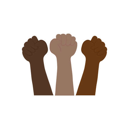 protesting concept, afro hands protesting over white background, flat style, vector illustration Çizim