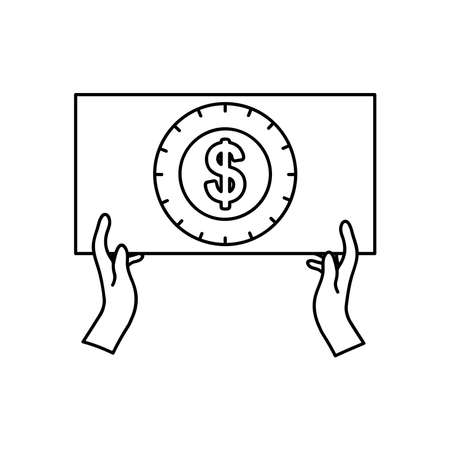 protest concept, hands holding a placard with money symbol icon over white background, line style, vector illustration Çizim