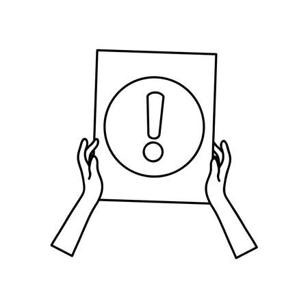 protest concept, hands holding a placard with exclamatin symbol icon over white background, line style, vector illustration Çizim