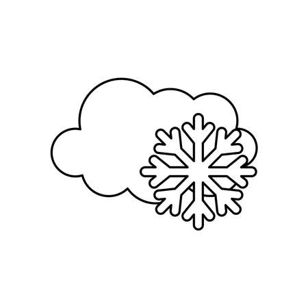 weather concept, cloud and snowflake icon over white background, line style, vector illustration