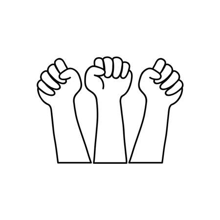 protesting concept, hands protesting over white background, line style, vector illustration
