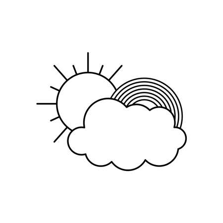 cloud, sun and rainbow icon over white background, line style, vector illustration