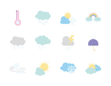 icon set of thermometer and weather over white background, flat style, vector illustration