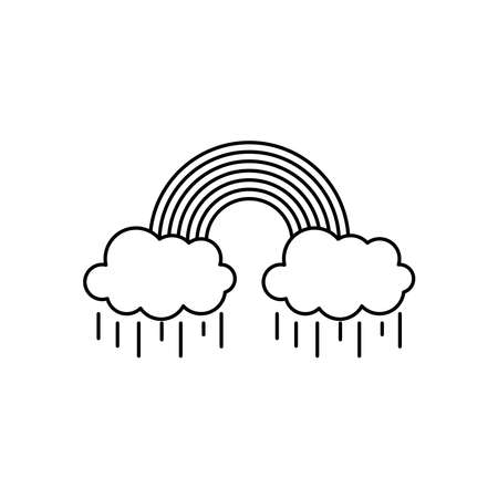 rainy clouds with rainbow icon over white background, line style, vector illustration Illusztráció
