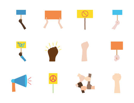 blank placards and protest concept icon set over white background, flat style, vector illustration Çizim