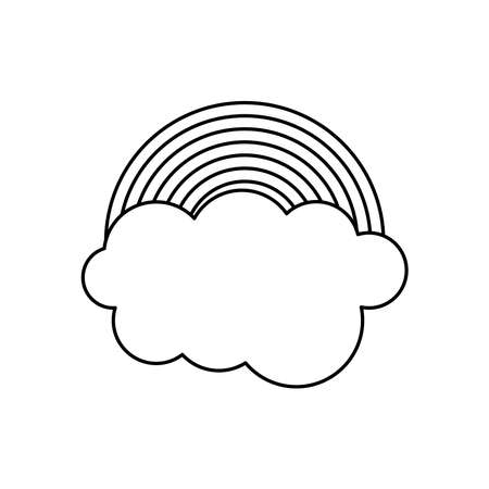 rainbow cloud icon over white background, line style, vector illustration