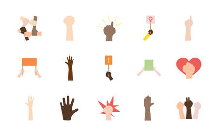 icon set of blank placards and protesting hands over white background, flat style, vector illustration 矢量图像