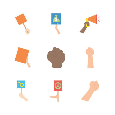 icon set of protesting hands over white background, flat style, vector illustration