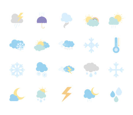 thunder and weather icon set over white background, flat style, vector illustration