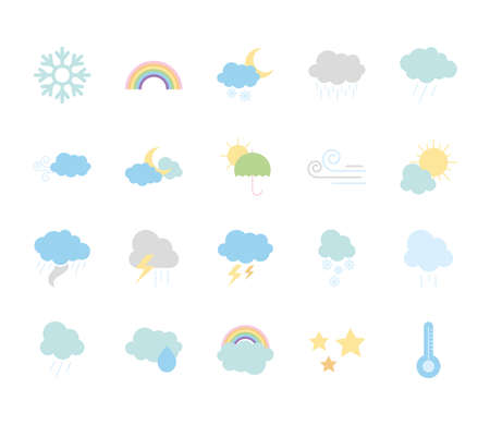 icon set of weather and clouds over white background, flat style, vector illustration