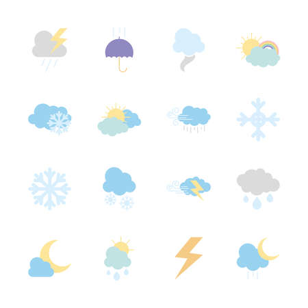 snowflake and weather icon set over white background, flat style, vector illustration Illusztráció