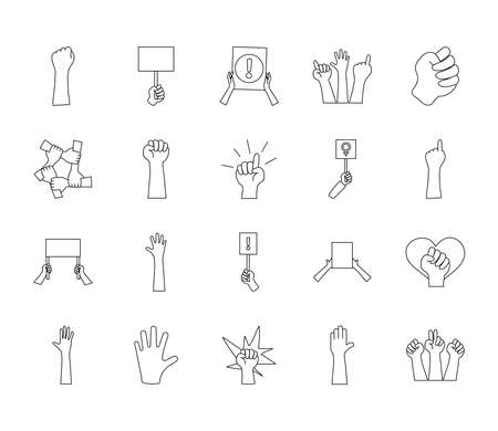 icon set of protesting and heart over white background, line style, vector illustration Çizim