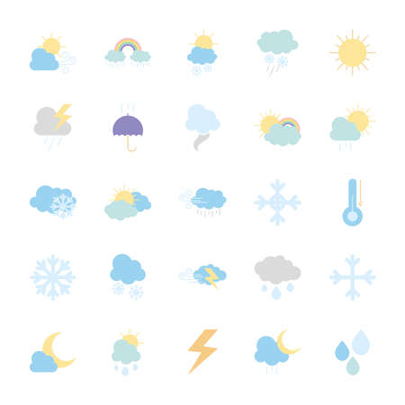 thermometer and weather icon set over white background, flat style, vector illustration