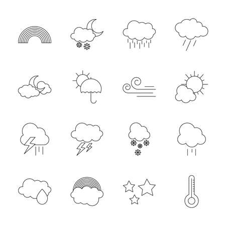 icon set of rainbow and weather over white background, line style, vector illustration