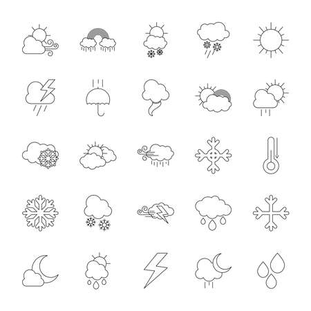 thermometer and weather icon set over white background, line style, vector illustration Illusztráció