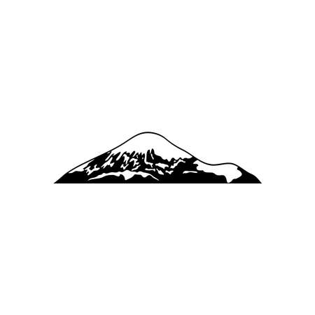 cold mountain with snow and grass over white background, silhouette style, vector illustration 矢量图像