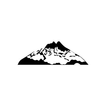 icon of mountain with snow over white background, silhouette style, vector illustration