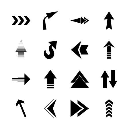 arrows up icon set over white background, silhouette style, vector illustration