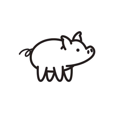 pig animal line style icon design, Farm agronomy lifestyle agriculture harvest rural farming and country theme Vector illustration