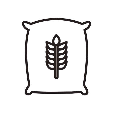 wheat ear seeds bag line style icon design, farm agronomy lifestyle agriculture harvest rural farming and country theme Vector illustration