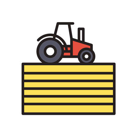 farm tractor line and fill style icon design, agronomy lifestyle agriculture harvest rural farming and country theme Vector illustration