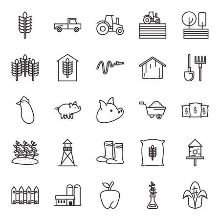 farm line style icon set design, agronomy lifestyle agriculture harvest rural farming and country theme Vector illustration