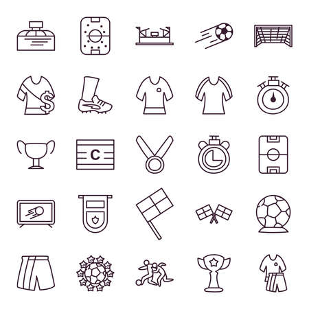 line style icon set design, Soccer football sport hobby competition and game theme Vector illustration