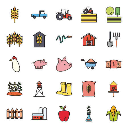 farm line and fill style icon set design, agronomy lifestyle agriculture harvest rural farming and country theme Vector illustration