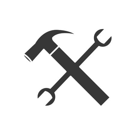 hammer and wrench crossed over white background, silhouette style, vector illustration