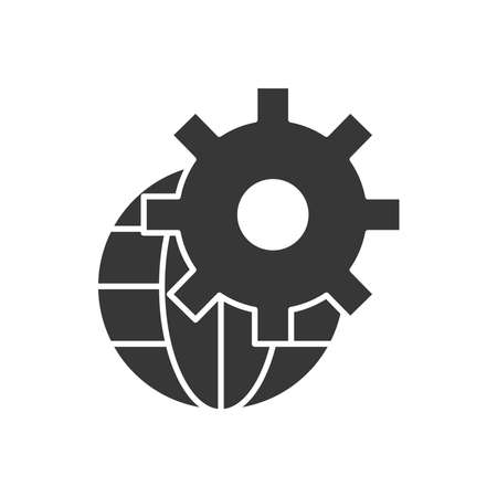 Technical service concept, global sphere with gear wheel icon over white background, silhouette style, vector illustration