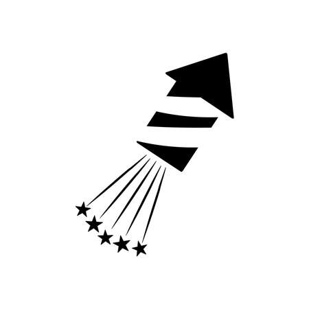 firework rocket and stars burst over white background, silhouette style, vector illustration