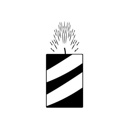 candle firework icon over white background, silhouette style, vector illustration 向量圖像