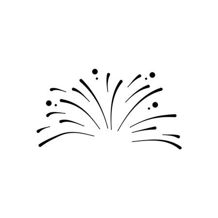 small fireworks explosion icon over white background, silhouette style, vector illustration 向量圖像