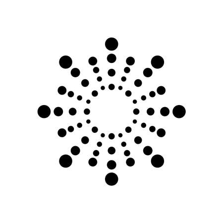icon of explosion of circles firework over white background, silhouette style, vector illustration