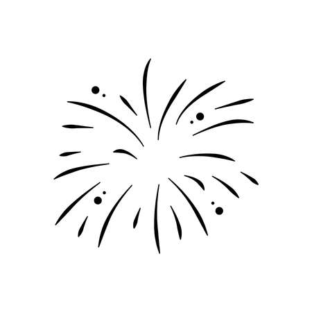 icon of explosion of firework over white background, silhouette style, vector illustration 向量圖像