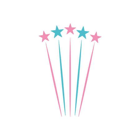 decorative stars exploding icon over white background, flat style, vector illustration