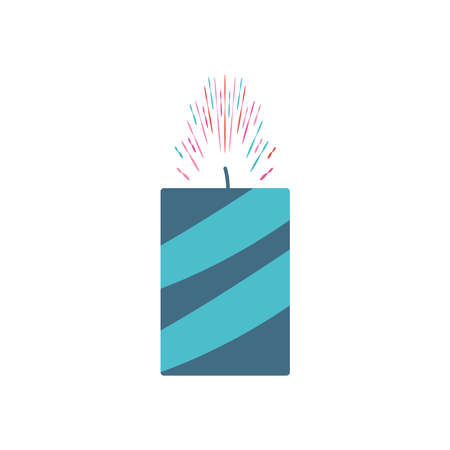candle firework icon over white background, flat style, vector illustration 向量圖像