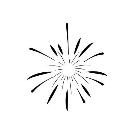 striped fireworks burst over white background, silhouette style, vector illustration