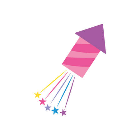 firework rocket and stars burst over white background, flat style, vector illustration