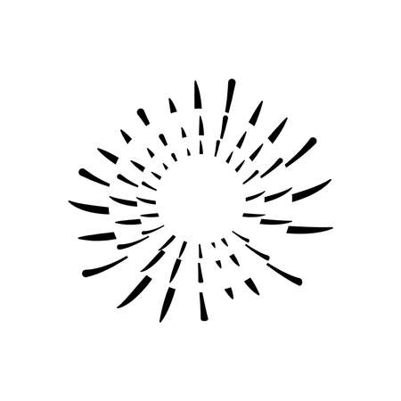 decorative striped fireworks burst icon over white background, silhouette style, vector illustration 向量圖像
