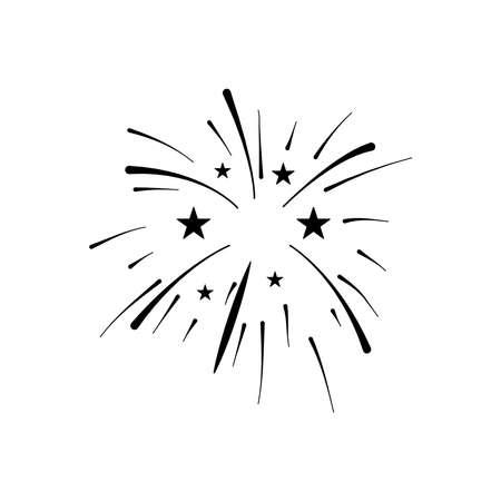 stars and fireworks burst over white background, silhouette style, vector illustration