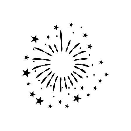 round burst of fireworks with stars over white background, silhouette style, vector illustration