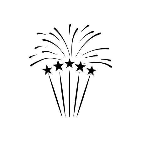 stars and firework burst over white background, silhouette style, vector illustration 向量圖像