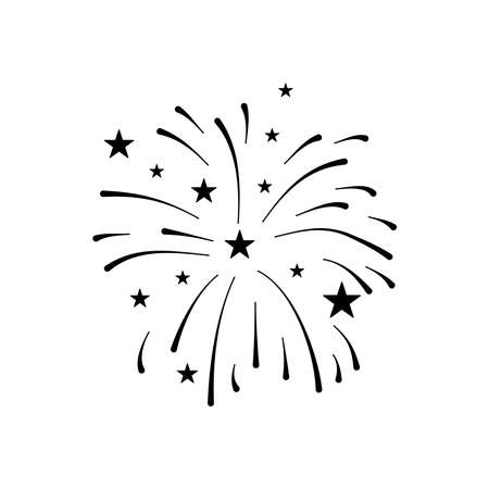 firework burst rays and stars icon over white background, silhouette style, vector illustration