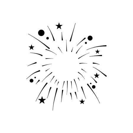 stars and circles fireworks burst over white background, silhouette style, vector illustration