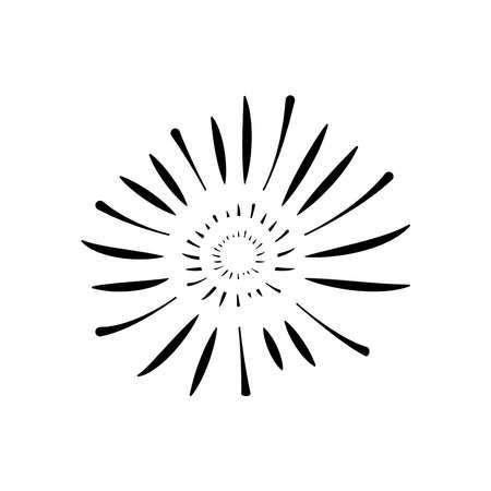 decorative sunburst firework icon over white background, silhouette style, vector illustration