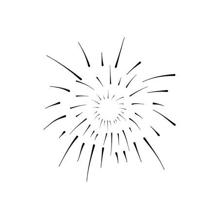 icon of round explosion of firework over white background, silhouette style, vector illustration 向量圖像